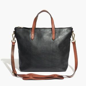 Madewell zip transport leather satchel tote bag